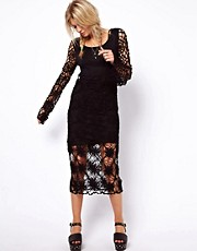 ASOS Crochet Village Midi Bell Sleeve Dress