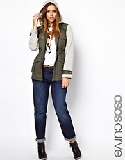 ASOS CURVE Parka With Jersey Sleeves