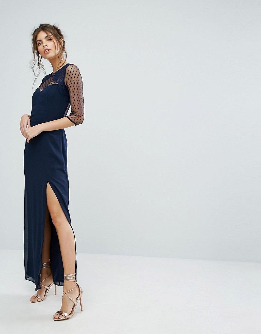 Elise Ryan Maxi Dress With Polka Mesh And Eyelash Lace Upper