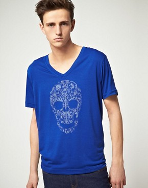 Image 1 ofB Side By Wale Skully V Neck T-Shirt