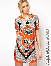 ASOS Maternity Dress In Blocked Scarf Print
