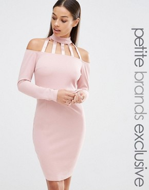 Naanaa Petite Off The Shoulder Cage Detail Bodycon Dress