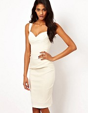 Hybrid Pencil Dress with Gathered Waist and Sweetheart Neck