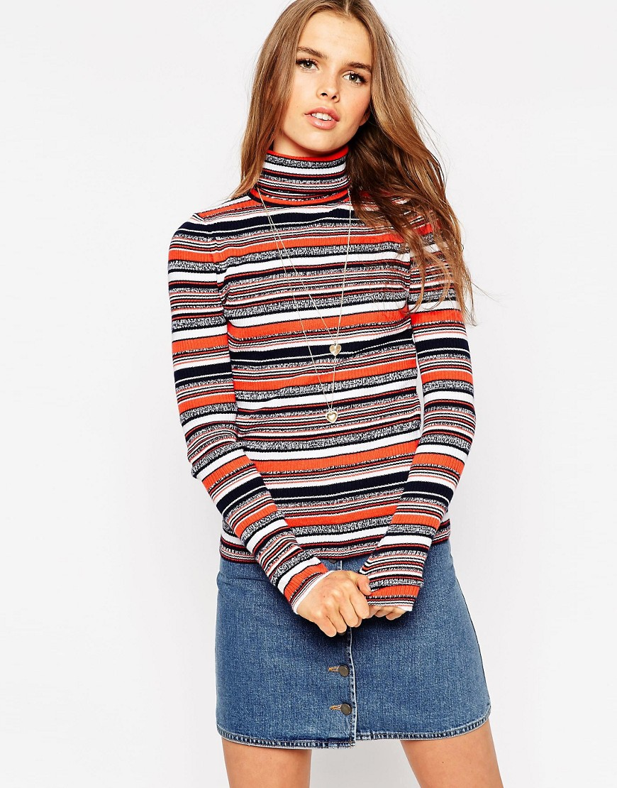 ASOS Co-Ord Sweater In Stripe With Roll Neck - Multi