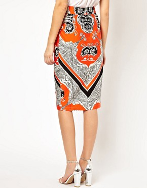 Image 2 ofASOS Wiggle Skirt in Baroque Print
