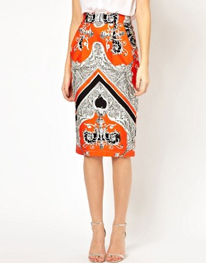 Image 4 ofASOS Wiggle Skirt in Baroque Print