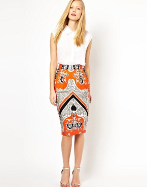 Image 1 ofASOS Wiggle Skirt in Baroque Print