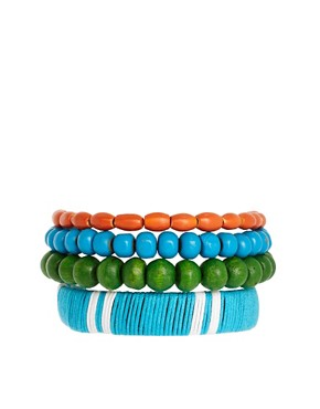 Image 1 ofASOS Thread Wrap Bead Bracelet Pack