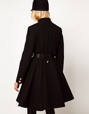 Image 2 ofASOS Belted Button Front Coat With Full Skirt