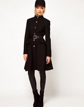 Image 4 ofASOS Belted Button Front Coat With Full Skirt