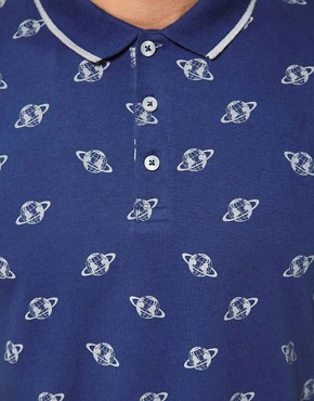 Image 3 ofASOS Polo With Globe Print