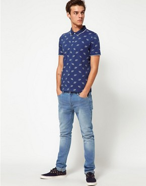 Image 4 ofASOS Polo With Globe Print