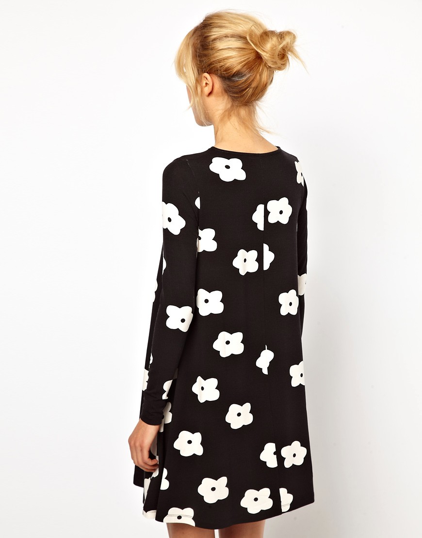 monochrome floral swing dress from asos