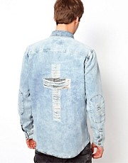 River Island Shirt with Flag Cross on Back