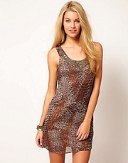 Costa Blanca Printed Dress With Beaded Trim