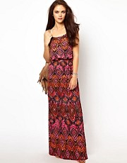 River Island Printed Waisted Maxi Dress