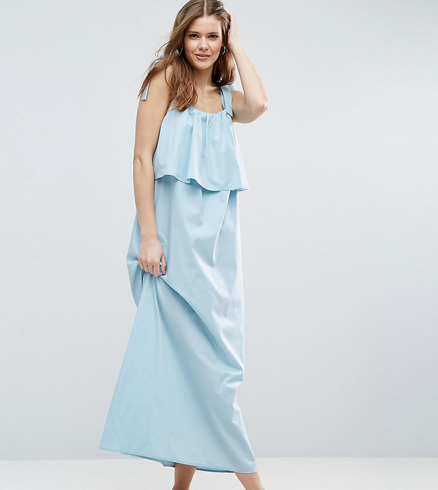 ASOS TALL Double Layer Maxi Dress in Cotton - Blue