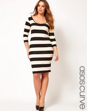 Image 1 ofASOS CURVE Exclusive Midi Bodycon Dress In Wide Stripe