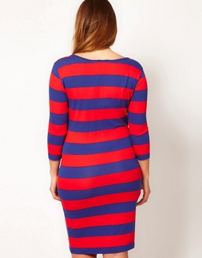 Image 2 ofASOS CURVE Exclusive Midi Bodycon Dress In Wide Stripe