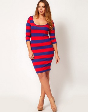 Image 4 ofASOS CURVE Exclusive Midi Bodycon Dress In Wide Stripe