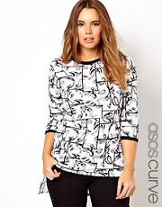 ASOS CURVE Exclusive Step Hem T-Shirt In Pop Art Print