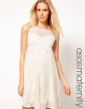 Image 1 ofASOS Maternity Lace Skater Dress With Mesh Top