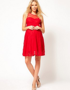 Image 4 ofASOS Maternity Lace Skater Dress With Mesh Top