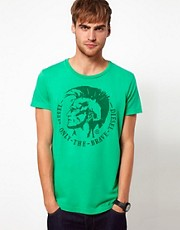 Diesel - T-Achel - T-shirt con stampa di indiano Mohawk
