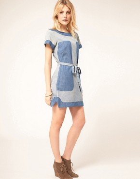 Image 4 of French Connection Denim Panel Dress