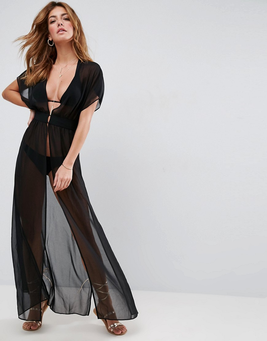 ASOS Grecian Maxi Beach Cover Up - Black