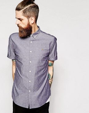 Farah Shirt with Dobby Dot Short Sleeves Slim Fit
