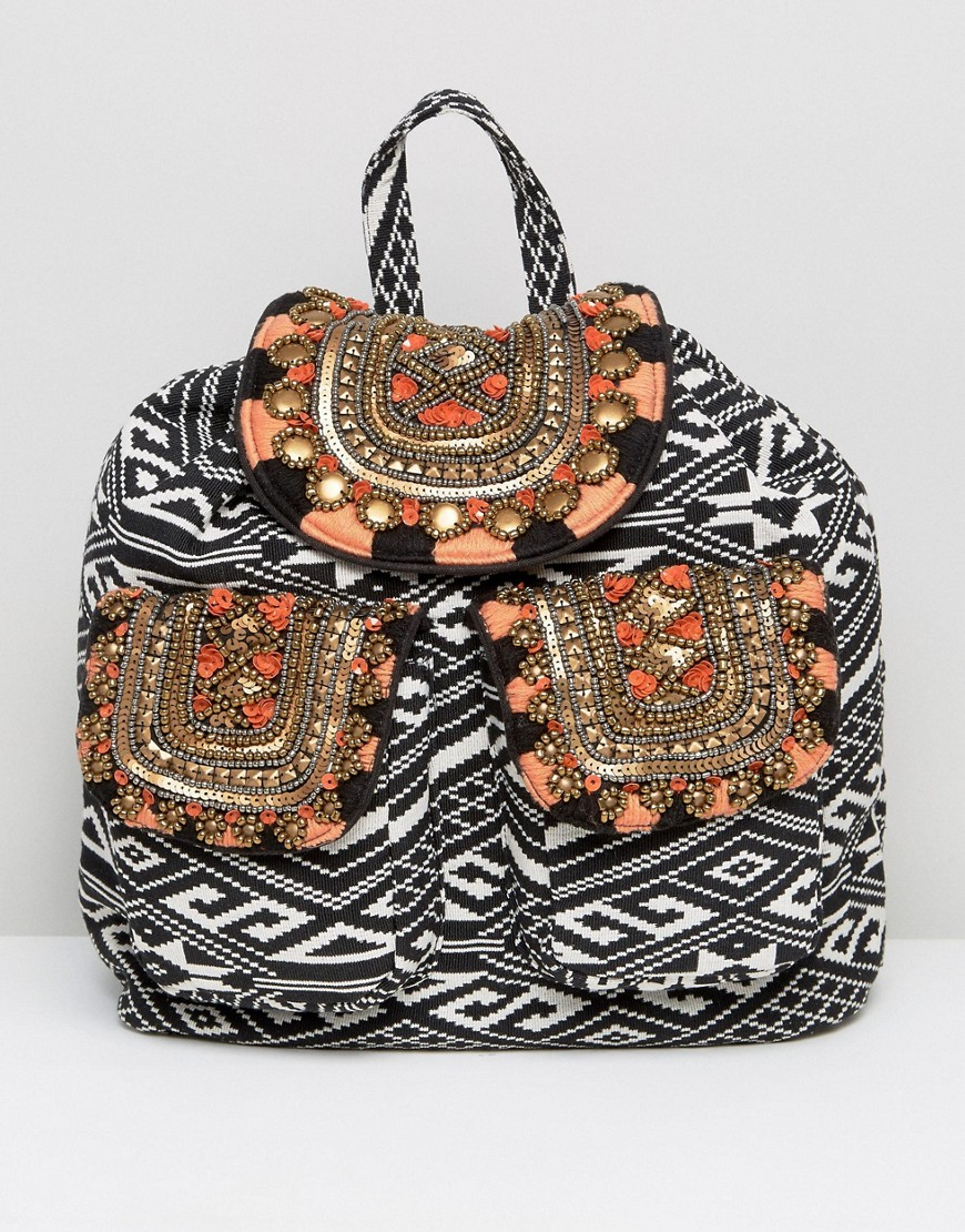 America & Beyond Festival Embellished Flap Backpack - Multi