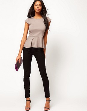 Image 4 ofASOS Top with Peplum in Ponte