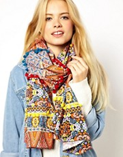 ASOS Pom Pom Embellished Digital Print Scarf
