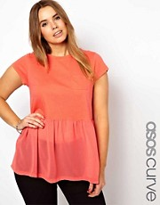ASOS CURVE Woven Hem Pocket T-Shirt