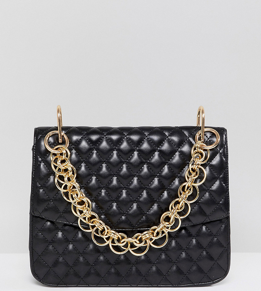 MY ACCESSORIES | My Accessories London Black Quilted Shoulder Statement Bag With Gold Link Chain Handle - Black | Goxip