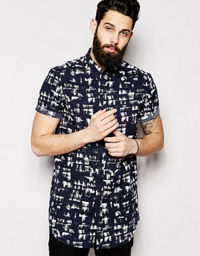 ASOS Super Longline Shirt In Short Sleeve With Absract Print