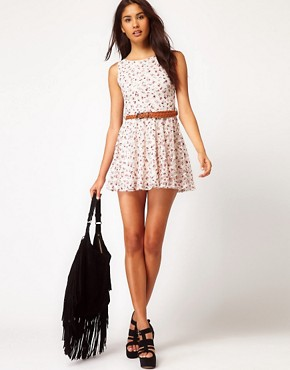 Image 4 ofClub L Floral Printed Lace Dress