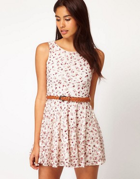 Image 1 ofClub L Floral Printed Lace Dress