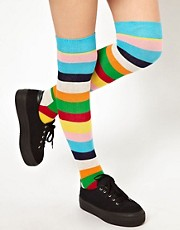 Calcetines de rayas por encima de la rodilla de Happy Socks