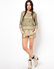 Free People Metallic Twill Shorts