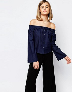 Lost Ink Denim Off Shoulder Top