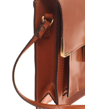 Image 2 ofASOS Leather Clean Lock Across Body Bag