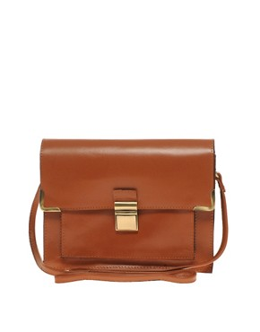 Image 1 ofASOS Leather Clean Lock Across Body Bag