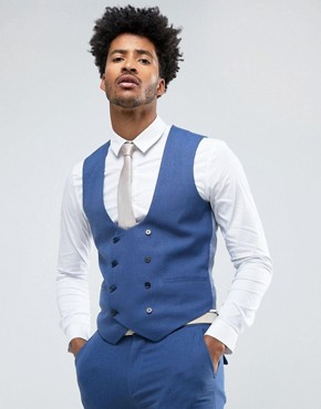 ASOS Wedding Super Skinny Suit Waistcoat In Bright Blue Micro Texture