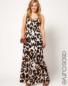 Image 1 ofASOS CURVE Maxi Dress In Animal Print