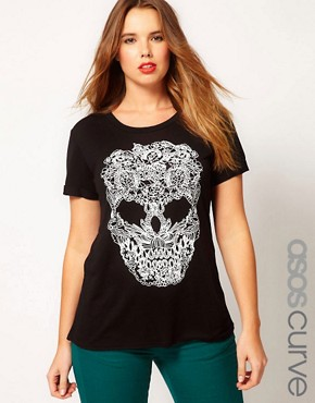 Image 1 ofASOS CURVE Exclusive T-Shirt With Stitch Print Skull