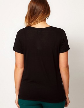 Image 2 ofASOS CURVE Exclusive T-Shirt With Stitch Print Skull