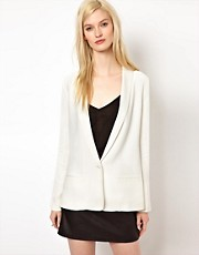 BA&amp;SH Satin Trim Soft Tuxedo Blazer