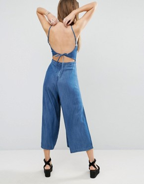 ASOS Denim Backless Jumpsuit With Split Culotte